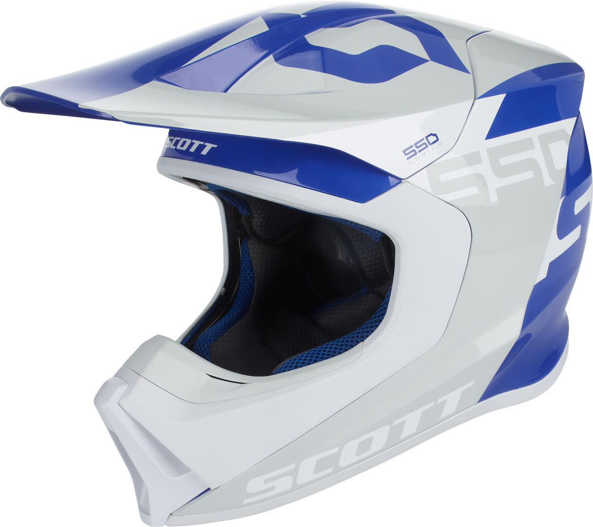 Casque cross et enduro Scott 550 WOODBLOCK Gris/Bleu  2018