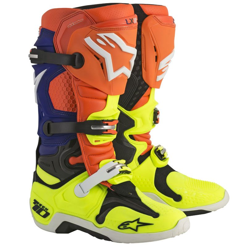 Bottes cross Alpinestars Tech 10 ORANGE FLUO BLEU BLANC JAUNE FLUO 2018