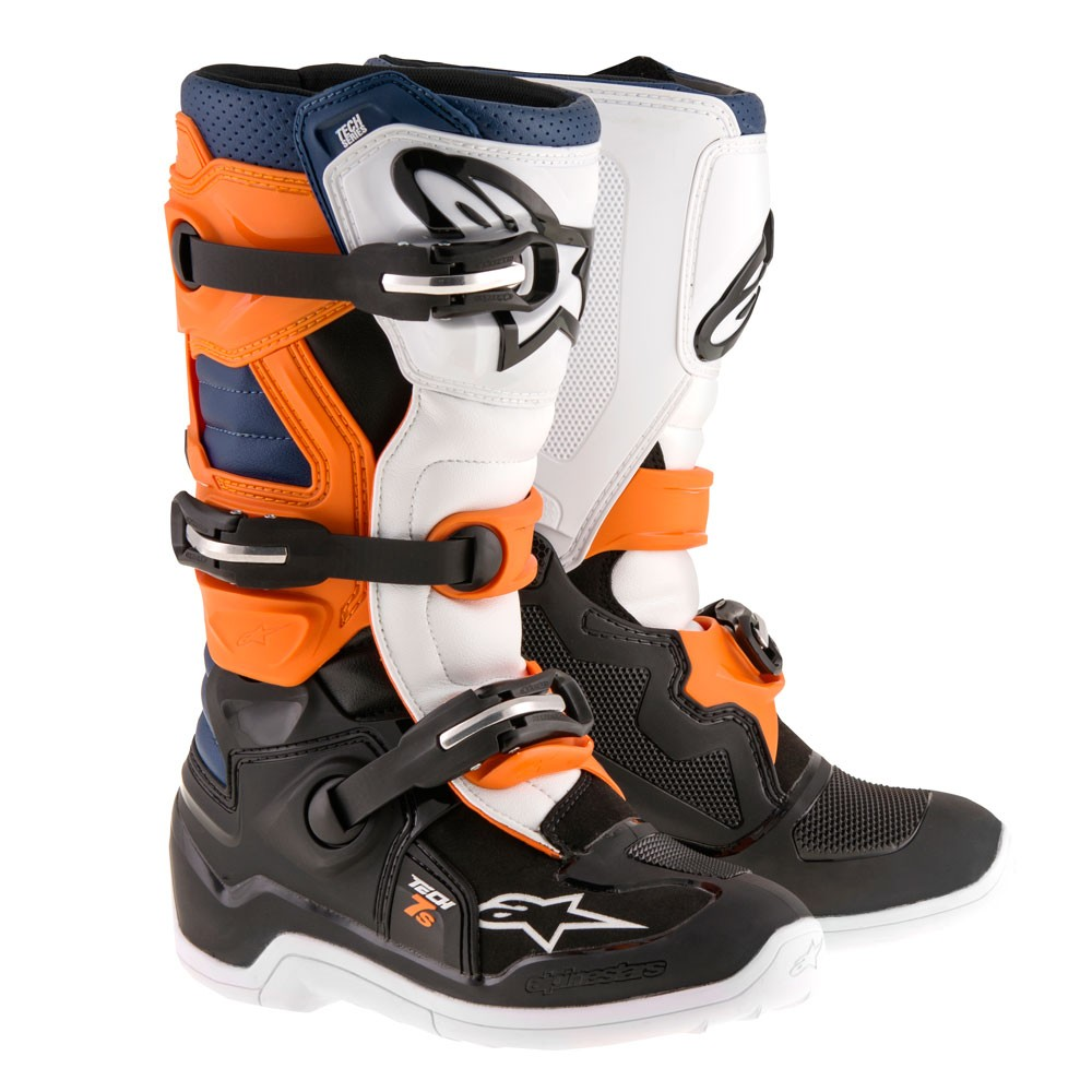 Bottes cross Alpinestars Tech 7 Bleu Blanc Orange Noir