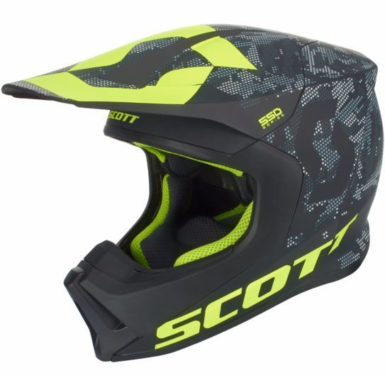 Casque cross et enduro Scott 550 CAMO NOIR/JAUNE 2018