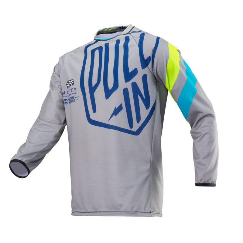 Maillot cross Pull In Challenger gris bleu lime