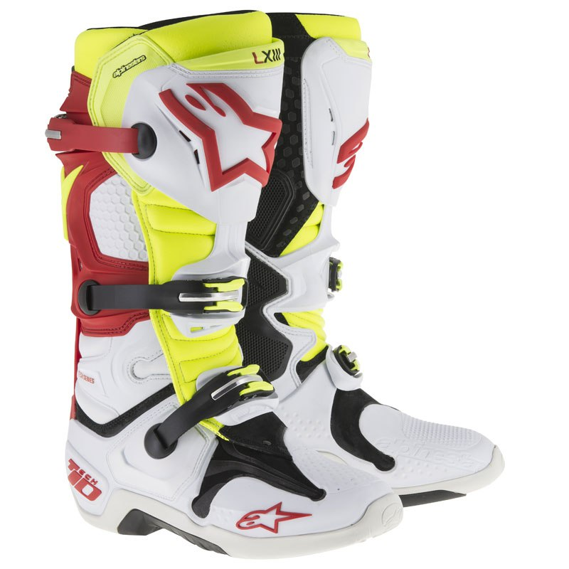 Bottes cross Alpinestars Tech 10 BLANC ROUGE JAUNE FLUO VENTED 2018